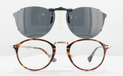 6d7bf9a0f9 Persol 3075-VM-49X21-TAB Polarized Clip-On Sunglasses